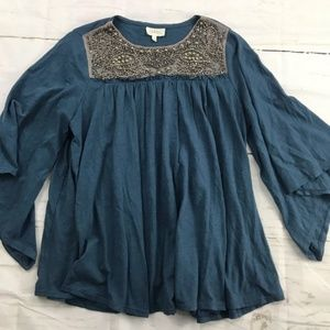 Anth Deletta beaded blue flowy blouse half sleeve